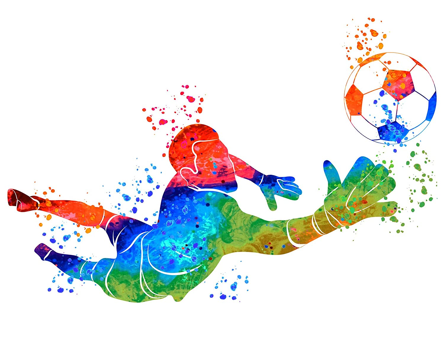 Watercolor Vibrant Soccer Wall Art for Men - Gift for Him - Sports Posters - Workout Football room decor - Abstract decor for boys bedroom…
