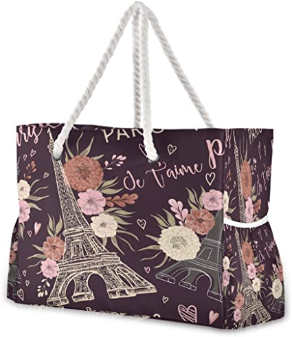 Hunihuni Bolsa de playa Paris Vintage Torre Eiffel, bolso de viaje con asas de cuerda de algodón, cremallera superior, dos bolsillos exteriores: Amazon.es: Equipaje
