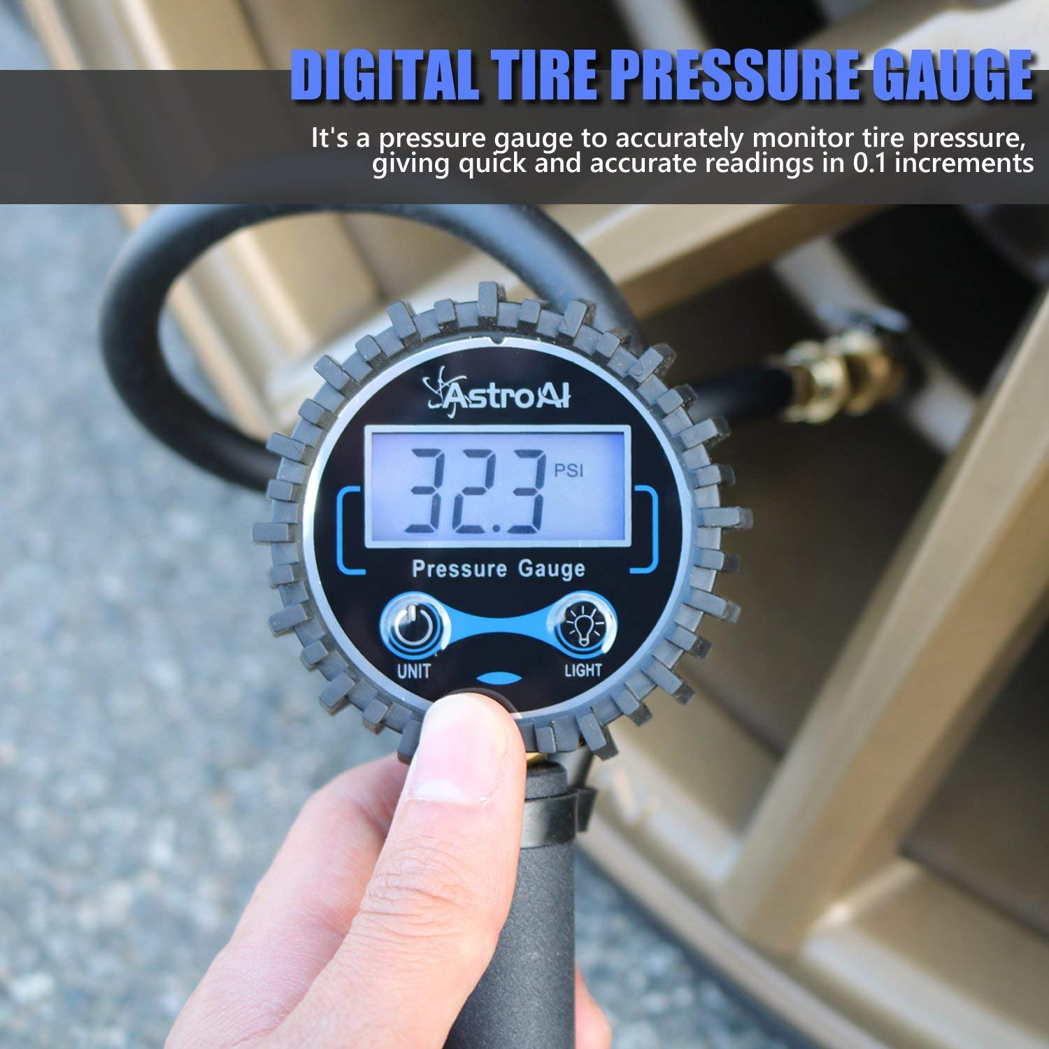 Renewed 250 PSI Air Chuck and Compressor Accessories Heavy Duty with Rubber Hose and Quick Connect Coupler for 0.1 Display Resolution AstroAI Digital Tire Inflator with Pressure Gauge