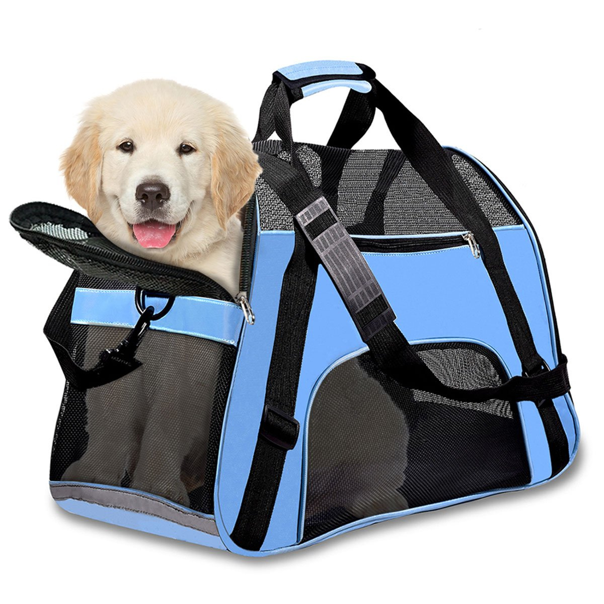 PPOGOO Pet Travel Carriers Soft Sided Portable Bags for Dogs and Cats Airline Approved Dog Carrier 22'' L x 10.2'' W x 13.8'' H Sky Blue by PPOGOO (Image #7)