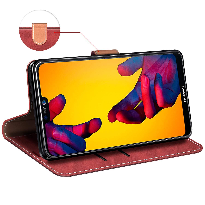 Elegante Negro Funda Cuero Huawei P20 Lite Magn/ético Funda Cartera Carcasa Case con Billetera Soporte para Huawei P20 Lite MOBESV Funda Huawei P20 Lite