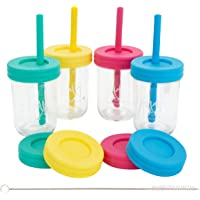 Elk and Friends Kids Cups/Toddler cups with Silicone Straws - Glass Mason Jars 8 oz with Straws + Straw Lids + Leak…