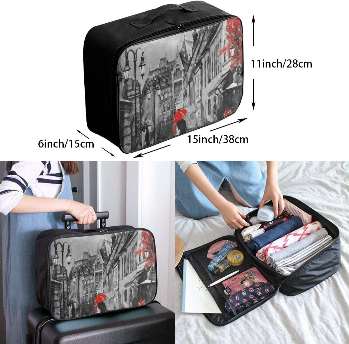 Travel Bags Oil Painting City Red Tree Portable Suitcase Trolley Handle Luggage Bag