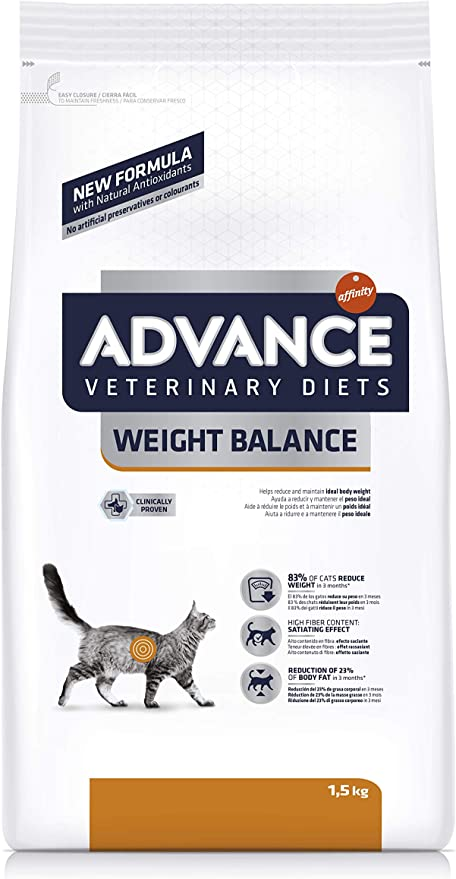 ADVANCE Veterinary Diets Weight Balance - Pienso para Gatos con Problemas de Sobrepeso- 1,5 kg: Amazon.es: Productos para mascotas