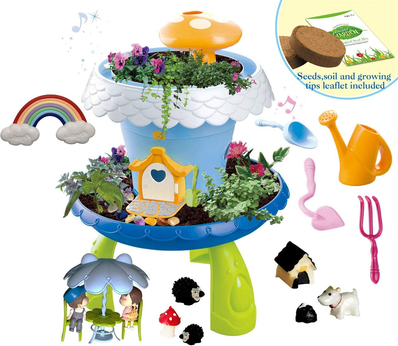 WOWToys Fairy Garden Kit Kids Gardening Set Indoor Outdoor Play Activity Gardening Tool Set Toys Kids Toddlers Girls Boys (Blue has Music A)
