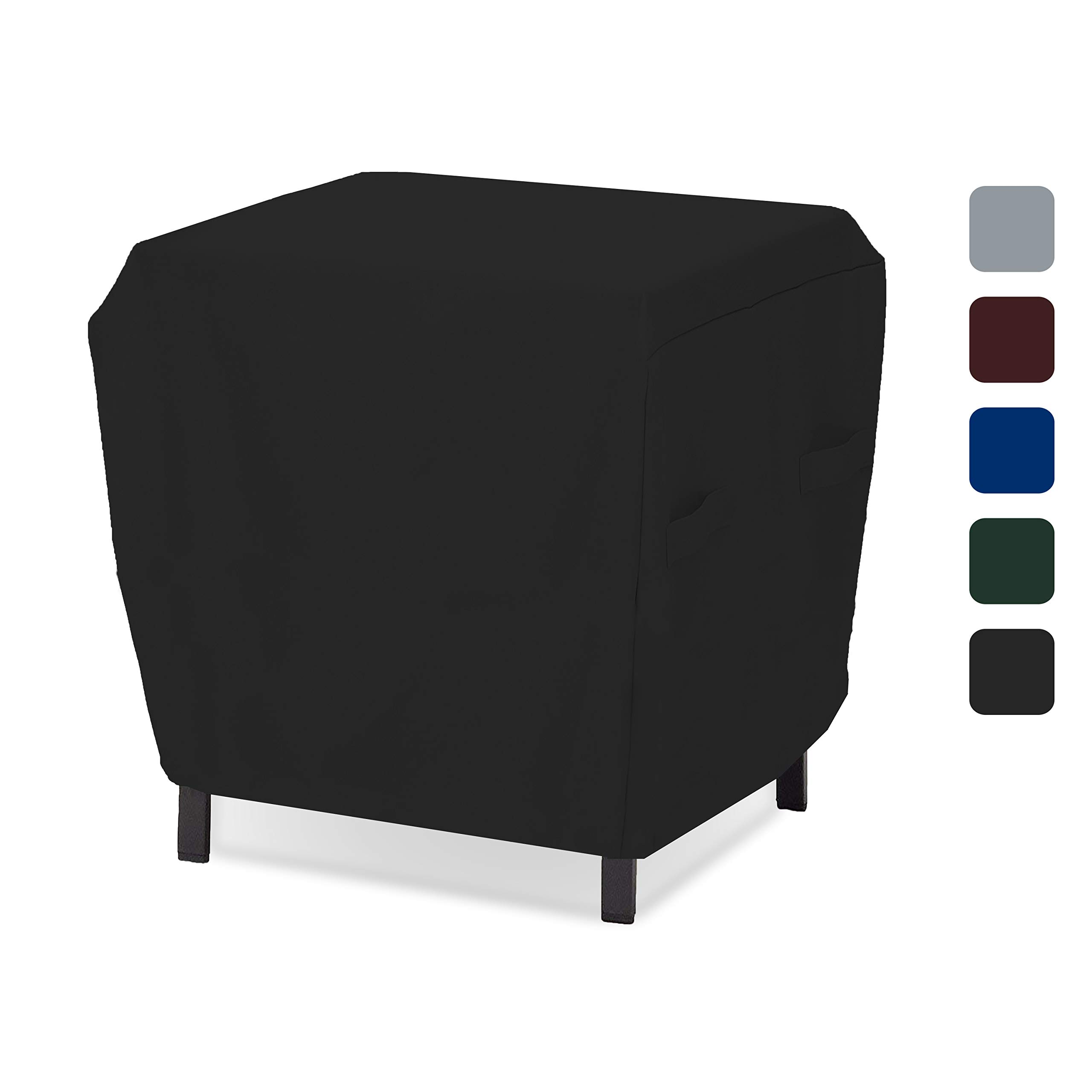 Outdoor Ottoman Cover 18 Oz - Waterproof & Weather Resistant Patio Furniture Covers - Square Ottoman Cover Heavy Duty Fabric with Drawstring for Snug fit (21'' W x 21'' L x 17'' H, Black)