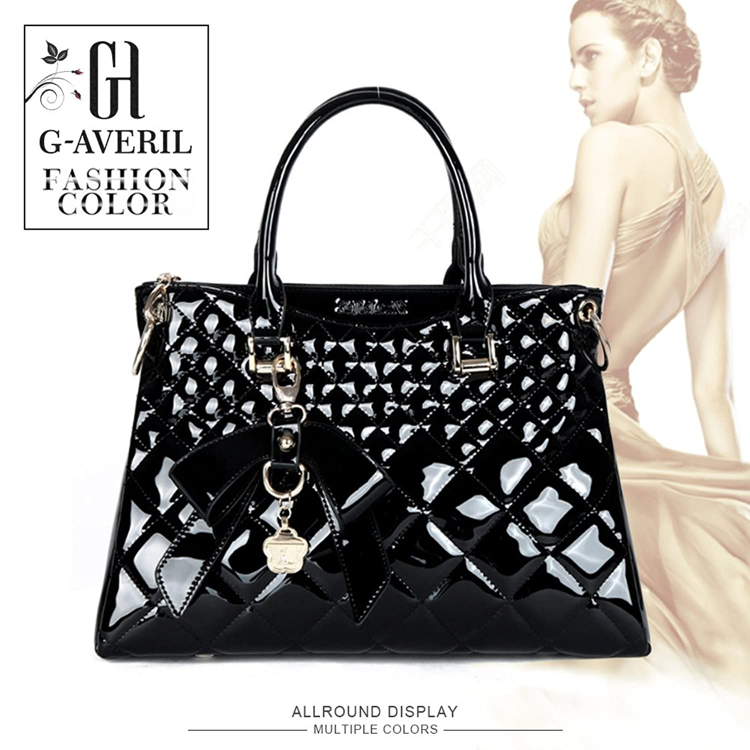 ab69c2bb2828 G-AVERIL Women Patent Leather Handbags Messenger Tote Bags Shoulder Bags  Black  Handbags  Amazon.com