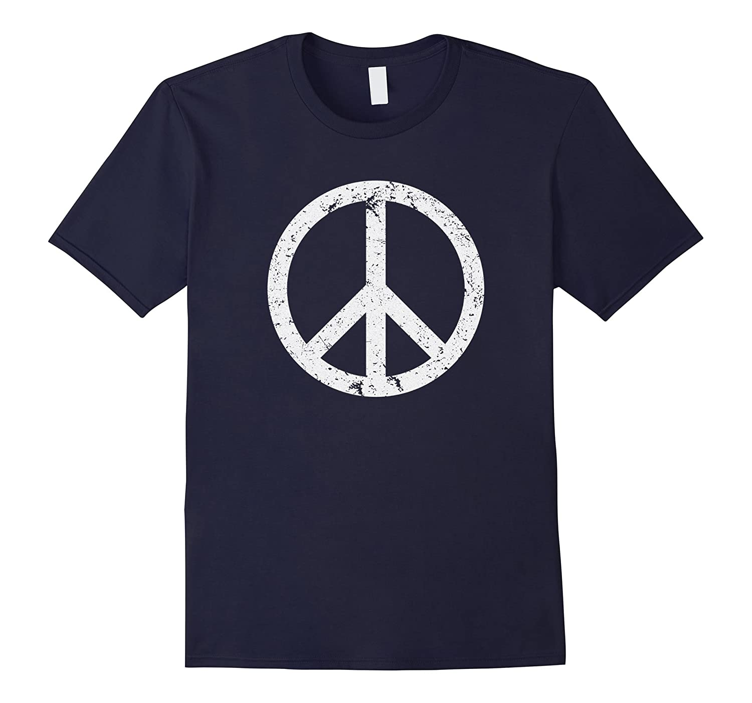 Vintage Peace Sign White Distressed T-shirt-BN