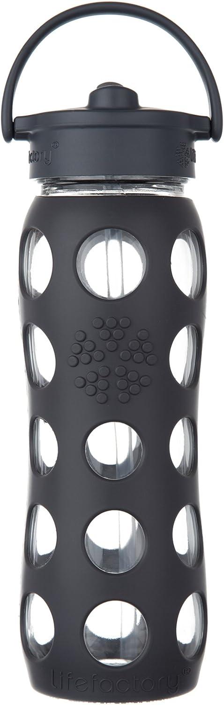 Lifefactory Glass Bottle with Straw Cap 22 oz. Carbon/Carbon 22 oz