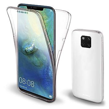 Moozy Funda 360 Grados para Huawei Mate 20 Pro Transparente Silicona - Full Body Case Carcasa Protectora Cuerpo Completo