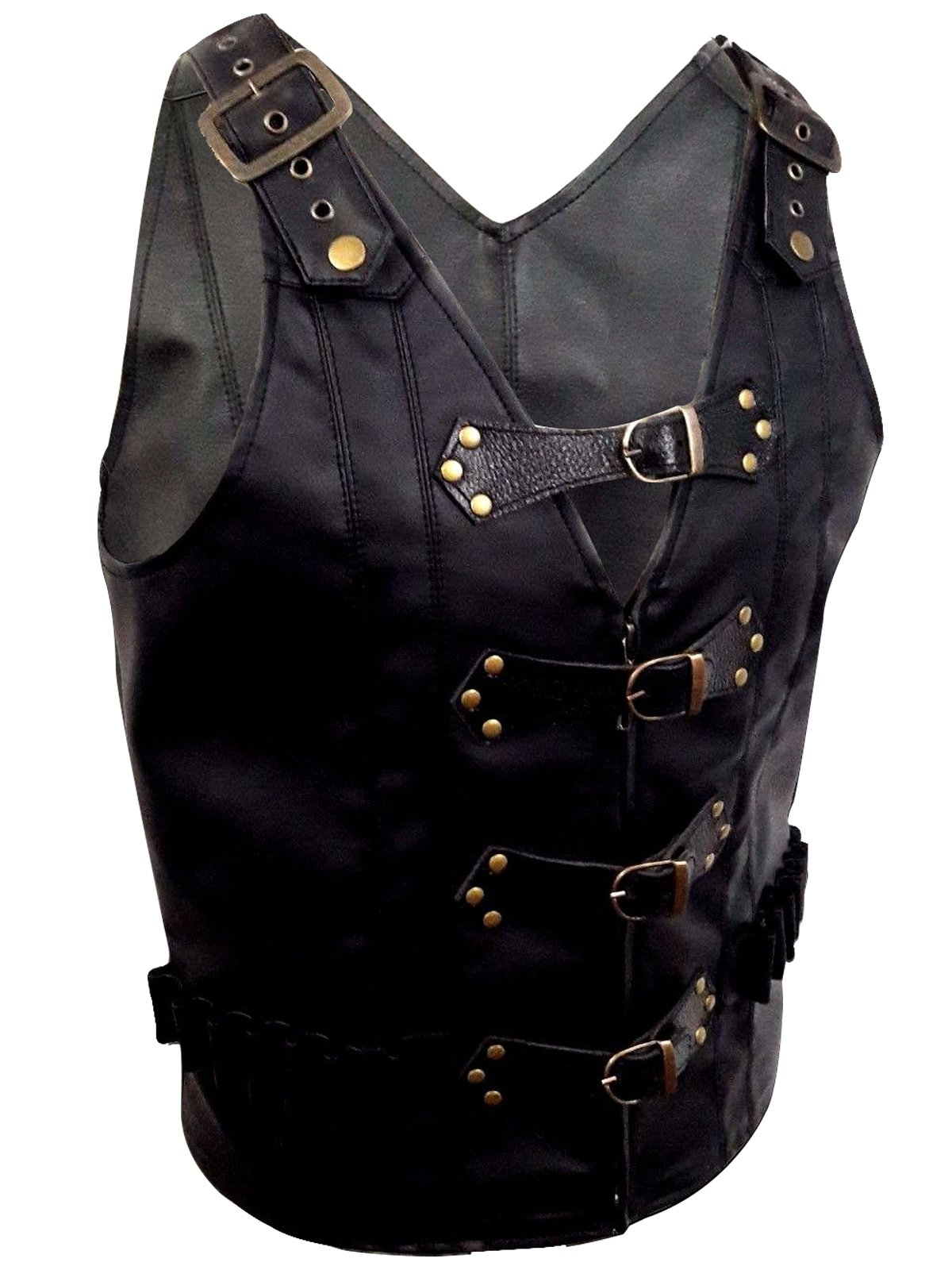 Mens Real Black Leather Heavy Duty Steampunk Gothic Style Vest Waistcoat 5