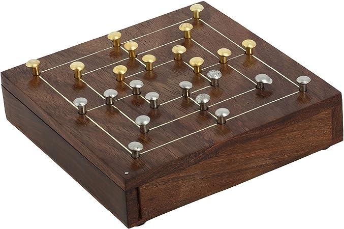 Juego de 6 – Fabricado en latón y madera Nine Mens Morris de tablero – Viaje parte Regalos para jóvenes y adultos: Amazon.es: Juguetes y juegos