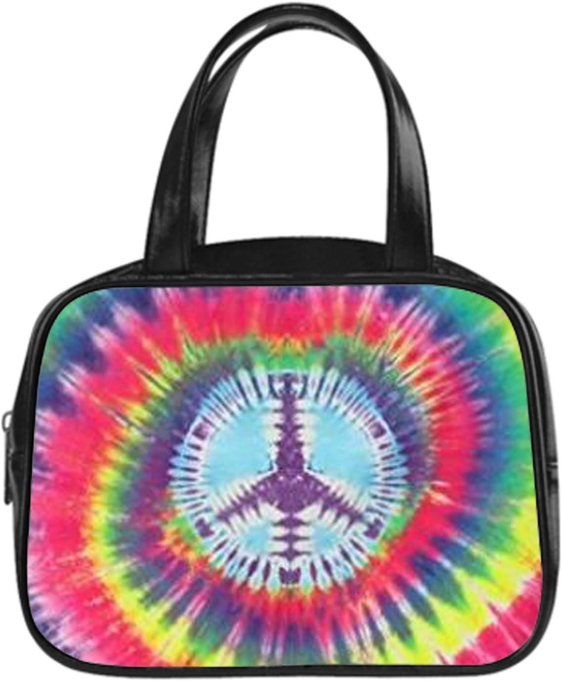 Women Tote Bags Top Handle Satchel Handbags PU Leather Shoulder Purse Peace Sign Tie Dye