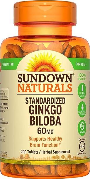 Sundown Ginkgo Biloba Standardized Extract 60 mg, 200 Tablets