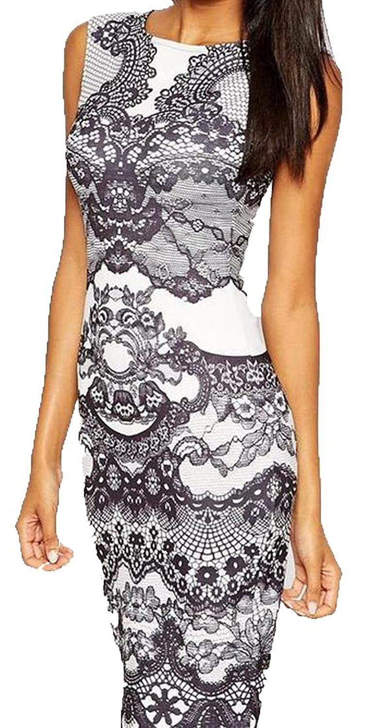 NQ Womens Knee Length Sleeveless Floral Slim Fit Pinup Dress