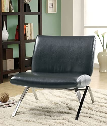 Superb Monarch Specialties Black Leather And Chrome Modern Accent Chair Machost Co Dining Chair Design Ideas Machostcouk