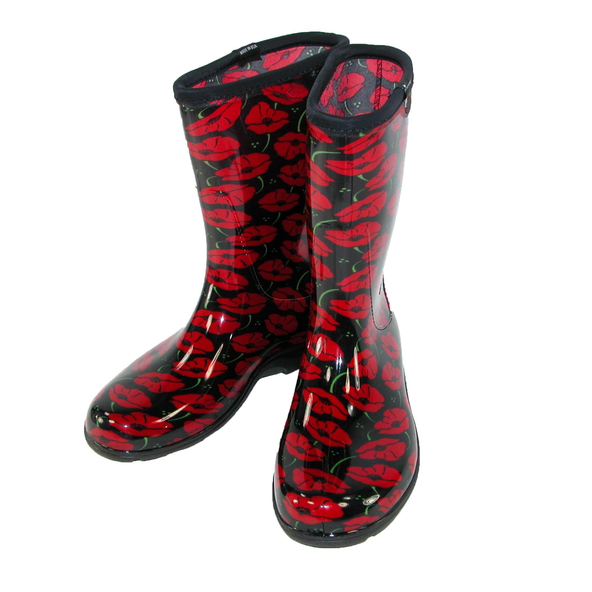 Sloggers Women's Waterproof Rain and Garden Boot with Comfort Insole, Poppy Red, Size 10, Style 5016POR10
