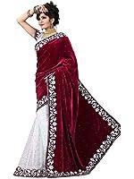 V-Art Women's Velvet & Net Saree With Blouse Piece (Maroonvelvet_Maroon)