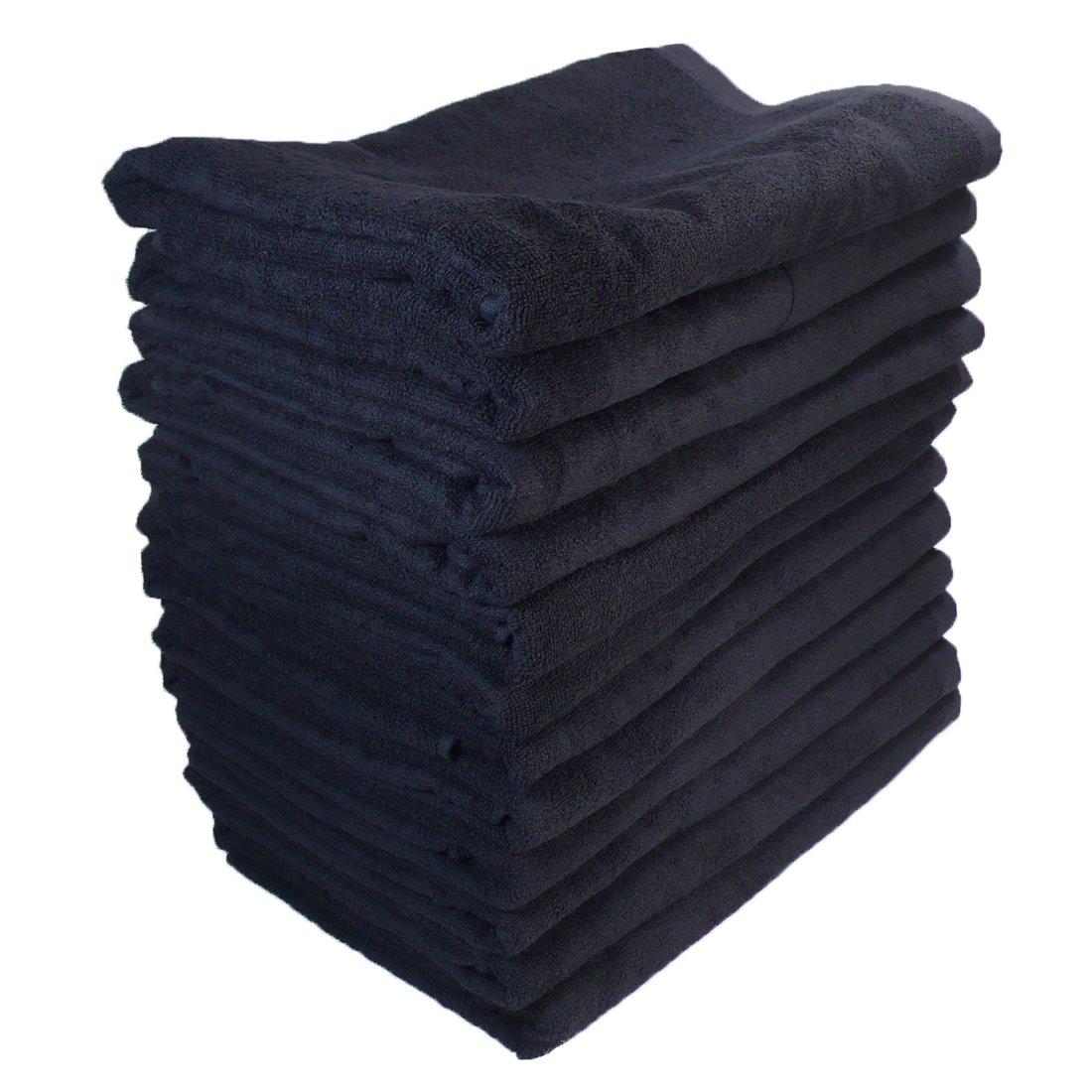 バスタオル 業務用 大判 1000匁 約70×140cm 綿100% レピア織 スレンカラー 耳かざりミシン(12枚販売) (ブラック) B01MG2SY3M ブラック