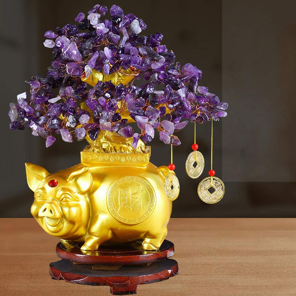 XINdream Crystal Lucky Tree Reiki Gemstone Money Pig Tree Office Table Living Room Decoration for Wealth and Luck Feng Shui Tree of Life