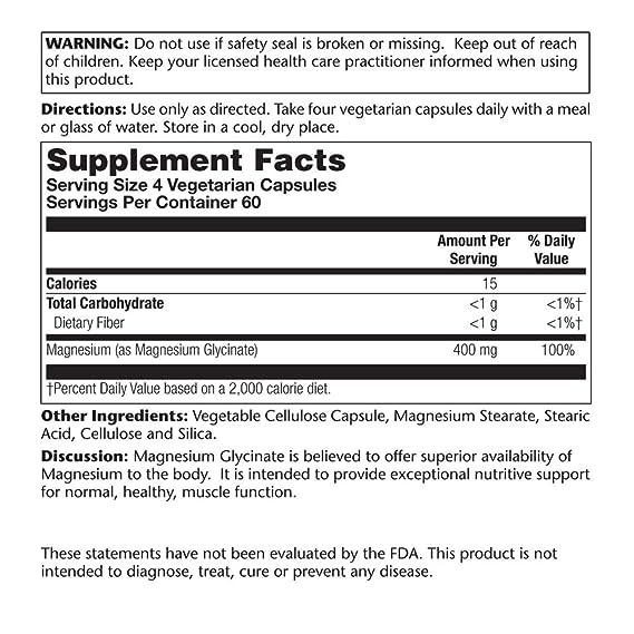 Magnesium Glycinate 400 mg Solaray 240 VCaps: Amazon.es: Salud y cuidado personal