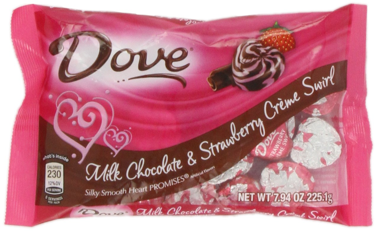 Amazon.com : DOVE PROMISES Valentine Milk Chocolate and Strawberry ...