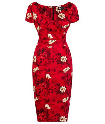 9d92f853207 Lady Vintage Voluptuous Ursula Wild Roses On Red 50s Style Floral Wiggle  Dress  Amazon.co.uk  Clothing