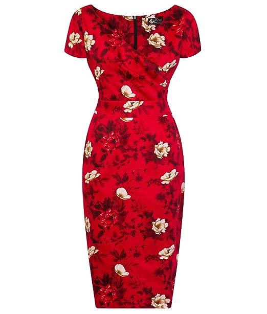 Lady Vintage voluptuosa Ursula Wild Roses EN Rojo Años 50 Estilo Floral Vestido Ajustado - Rojo