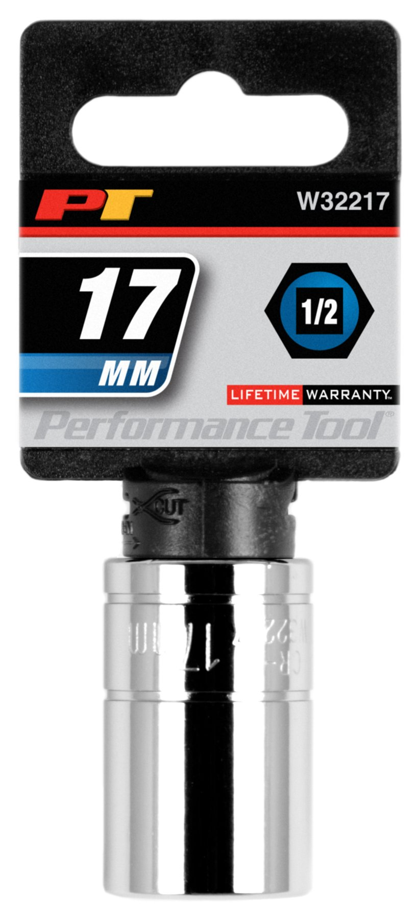 "Performance Tool W32217 1/2"" Dr 17mm 6Point Socket, 1 Pack"