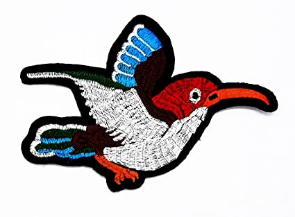 Uccello colibrì rockabilly cartoon kids patch ricamato a mano ferro
