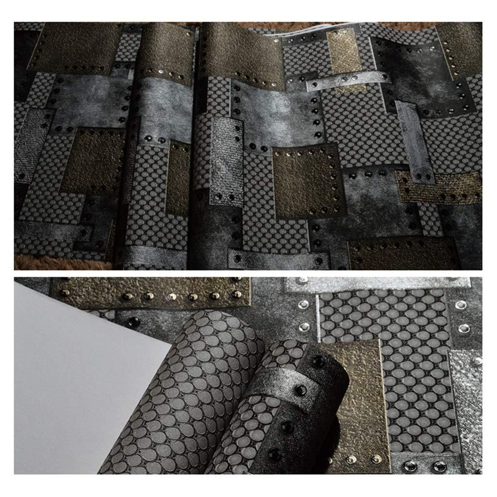 BiZi Papier Peint Personnalit/é Vintage Loft Style Industriel Papier Peint Effet 3D M/étal et Rivets PVC D/écoration Murale pour Bars//Caf/és//Restaurants Couleur : A, Taille : 393in*20.8in