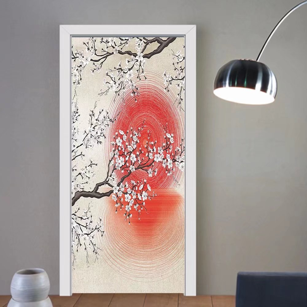 Gzhihine custom made 3d door stickers Cherry Blossom Sakura Branches Japanese Sun and Reflection Shadow Design Patterns Cream Pearl Decor Living Room Bedroom Beige Brown Red White For Room Dec