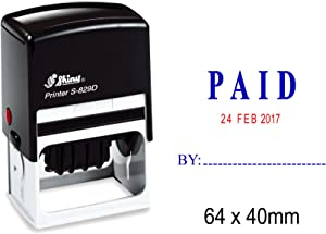 Self Inking Shiny Date Stamper with Paid by Text Office Stationery Rubber Stamp S-829D