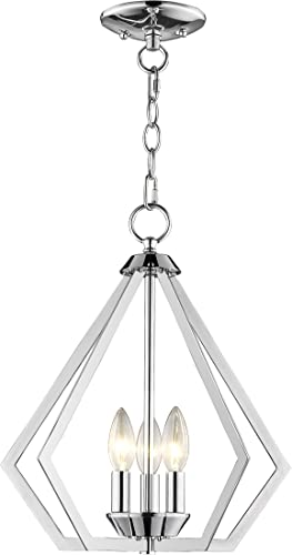 Livex Lighting 40923-05 Prism 3 Light CH Mini Chandelier Ceiling Mount, Polished Chrome