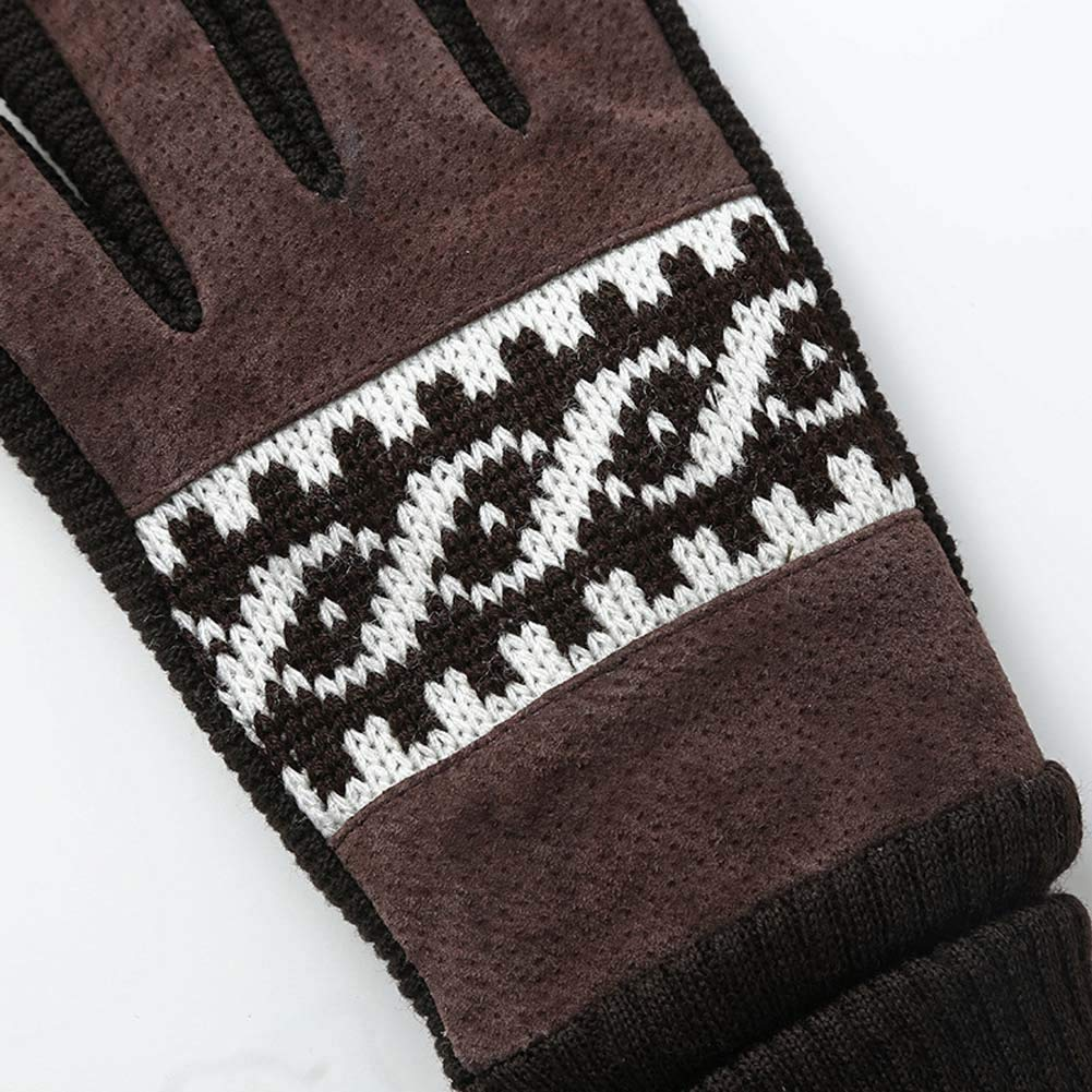 YSHS Mens Plus Velvet Gloves Winter Thick Pigskin Warm Gloves Fashion Non-Slip Windproof Riding Gloves