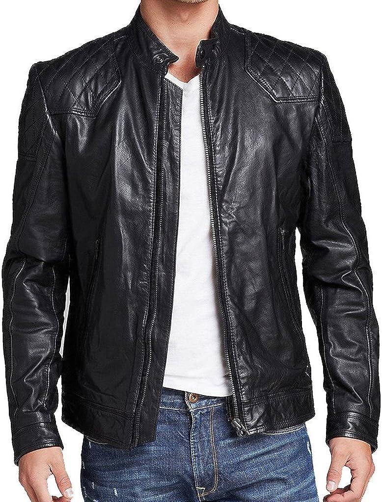 Stylish Men Biker Motorcycle Zipper Slim Fit Leather Casual Jacket KL239