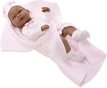 Amazon.es: ARIAS - Muñeca bebé negrito Real Baby, con Manta Rosa, 42 cm (65103): Juguetes y juegos