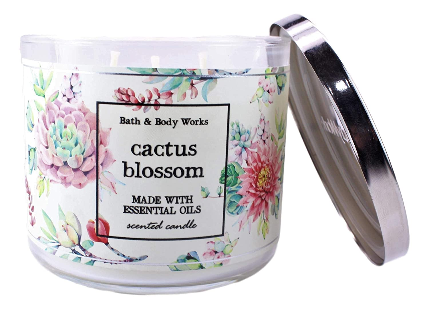 Bath /& Body Works Cactus Blossom 3 Wick Scented Candle 14.5 oz