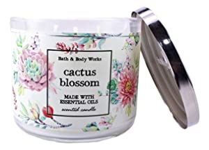 Bath & Body Works Cactus Blossom 3 Wick Scented Candle with Essential Oils 14.5 oz / 411 g