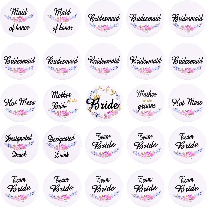 25 Piezas Botones nupciales Boda Botones de novia Bachelorette Party Pins para bodas Regalos de dama de honor de despedida de soltera, Blanco, 8 estilos