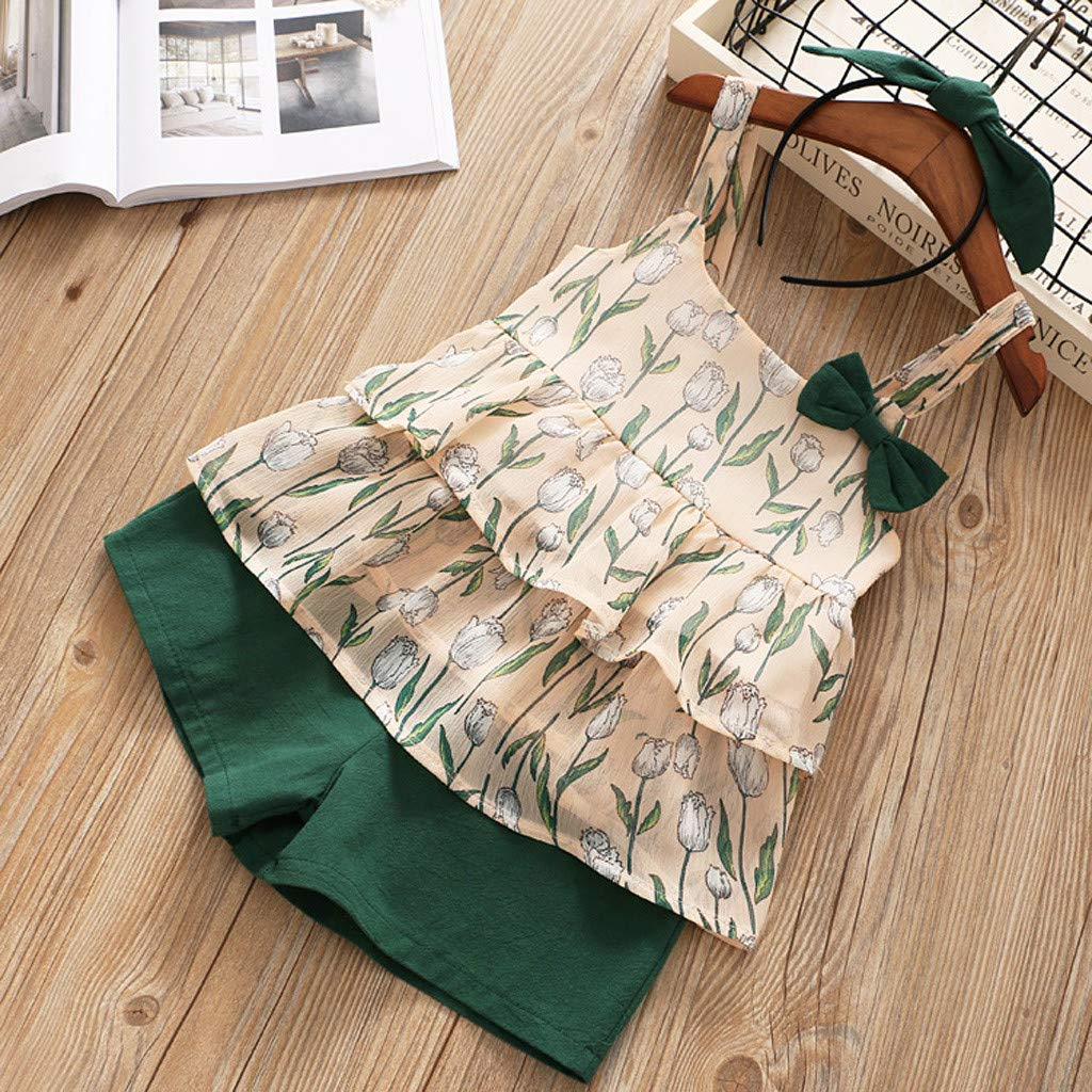 2-6Years,SO-buts Girls Kid Summer Fashion Sleeveless Flowers Wave Vest Sling Tops T Shirt+Shorts Outfits Set