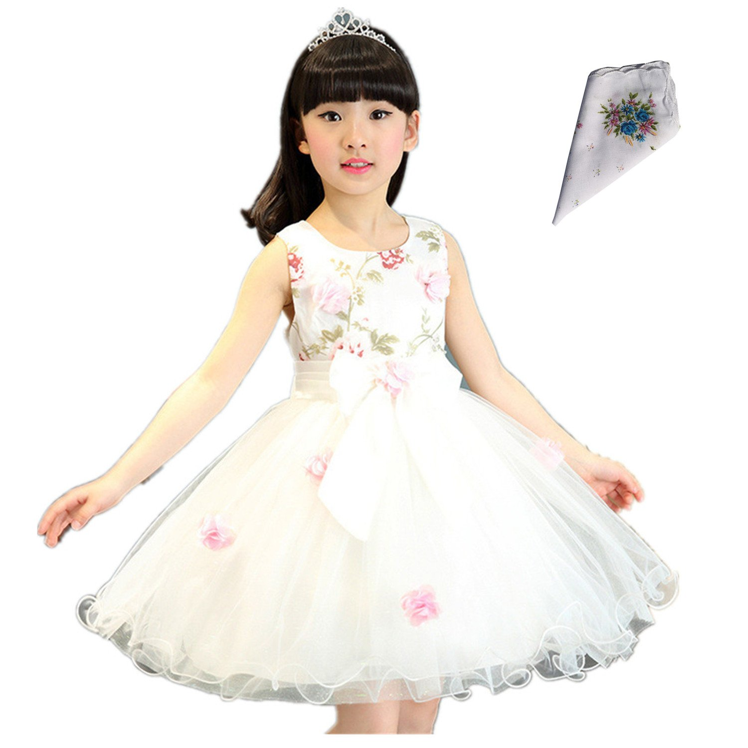 FTSUCQ Girls Floral Printed Bowknot Twirling Princess Dress (120(6-7Y), White) by Dillian Dress (Image #1)