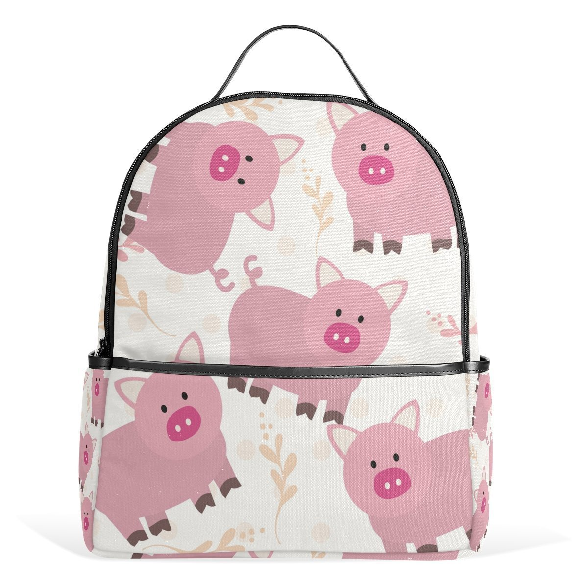 スクールバックパック ピンクの豚 トラベルバッグ ティーンエイジャー用 男の子 女の子   B07G34PJGT