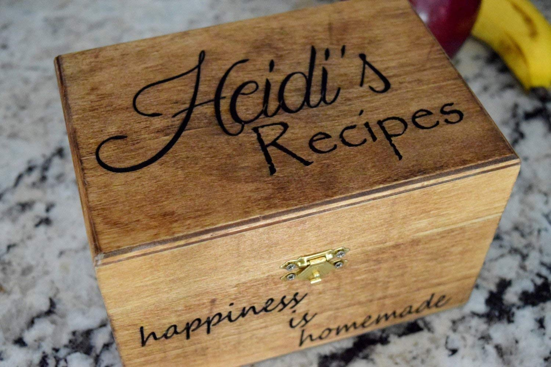 B015QI2C7O Personalized Recipe Card Box - Personalized Gift - Rustic Home Decor - Recipe Holder - Recipe Box - Recipe Card Box 71GFW8S9q1L