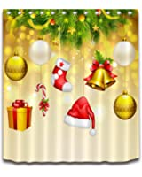 """Merry Christmas Season Eve New Year Decorative Decor Gift Shower Curtain Polyester Fabric 3D Digital Printing 72x72"""" Mildew Resistant Tree Gold Background Balls Hat Candy Cane Bathroom Bath Liner Set"""