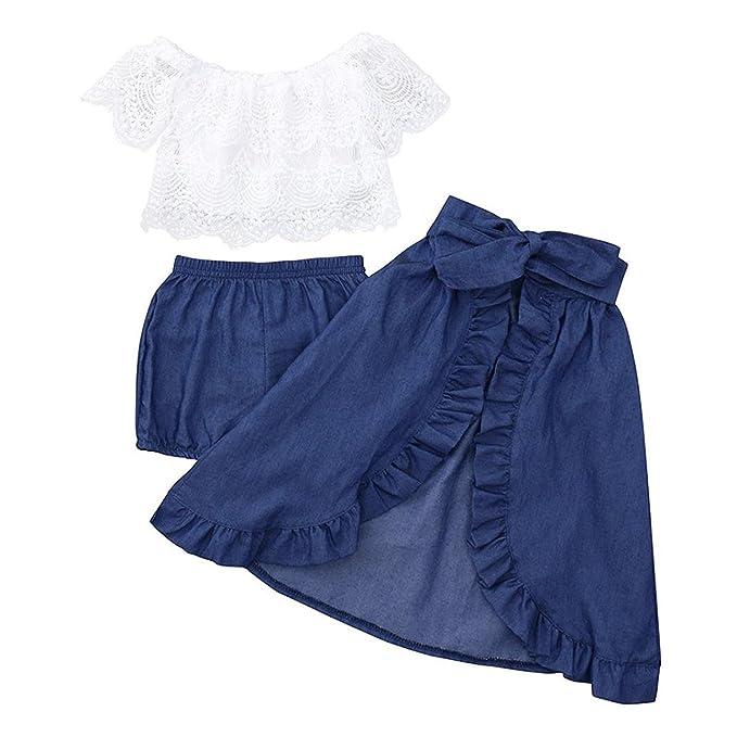 57348a68b822c INHoney Toddler Girl Off Shoulder Top + Denim Skirt + Denim Shorts 3PC  Outfit Set