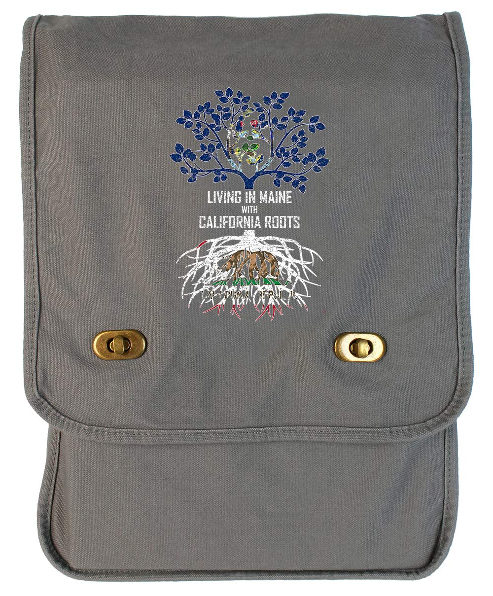Tenacitee Living In Maine with California Roots Grey Brushed Canvas Messenger Bag