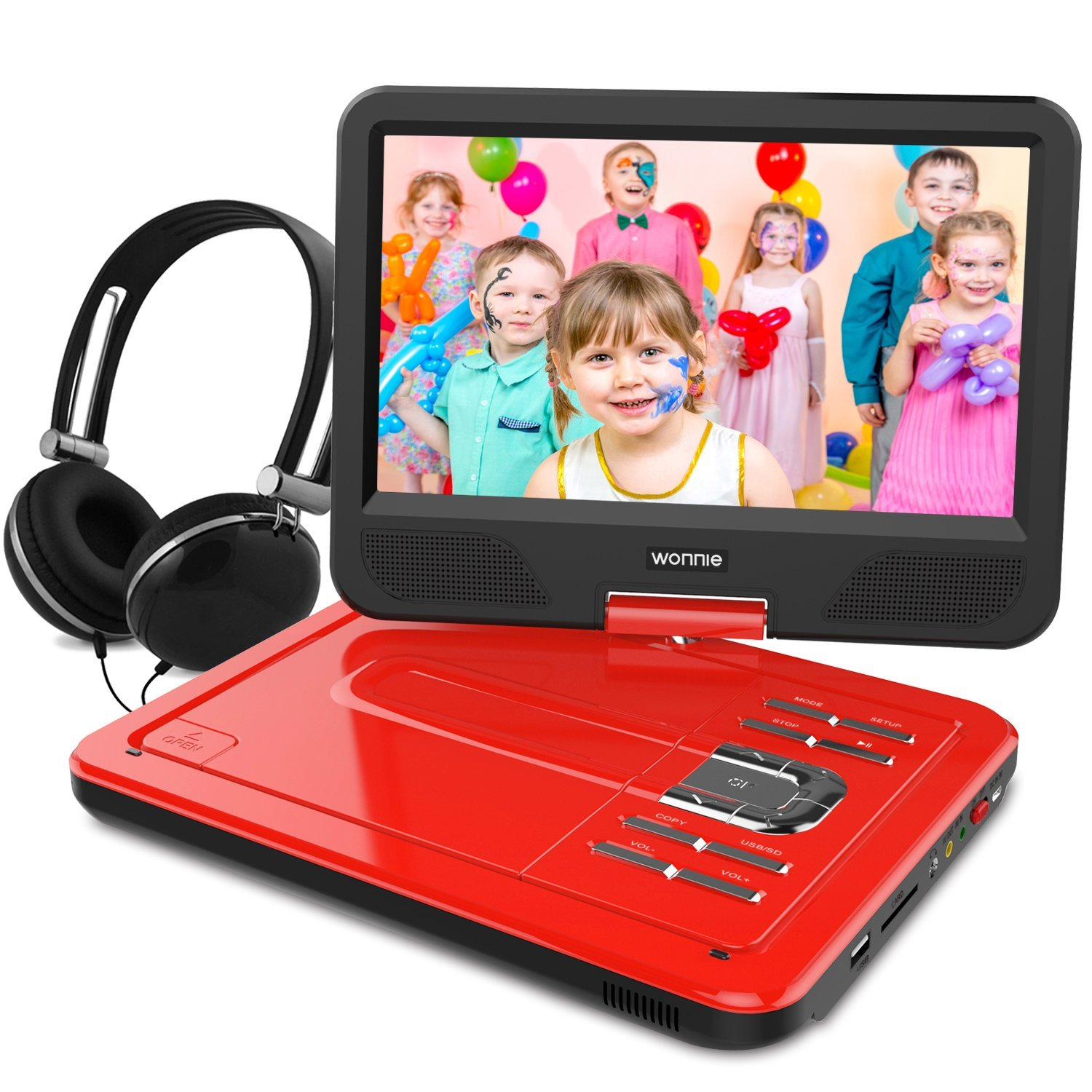 10.5 Inch Portable DVD Player with Swivel Screen, USB/SD Slot (RED)
