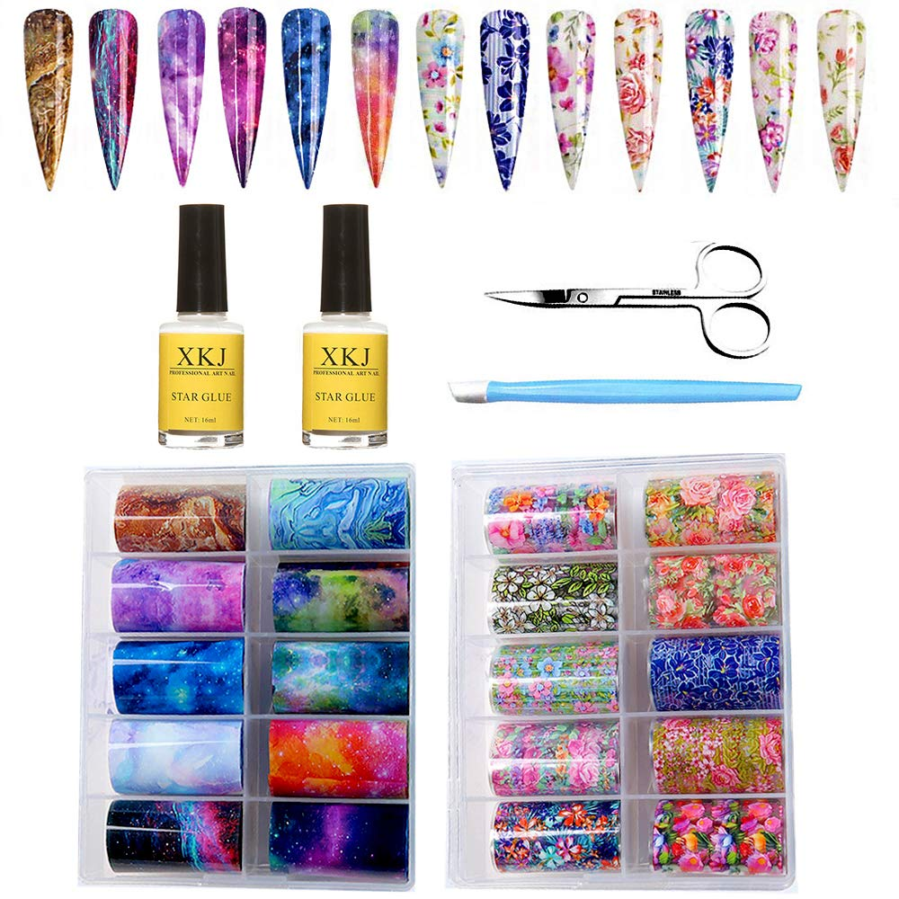 Kalolary 20 Color Starry Sky Stars Nail Art Foil with Nail Glue, Holographic Nail Art Transfer Stickers DIY Decoration, UV LED Lamp Required by Kalolary