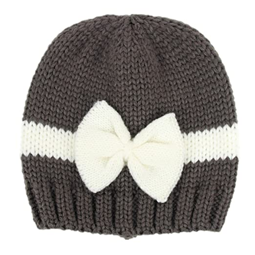 d481ab994f6 puseky Newborn Baby Boy Girl Bowknot Winter Warm Knitted Hat Crochet Beanie  Cap (Dark Grey
